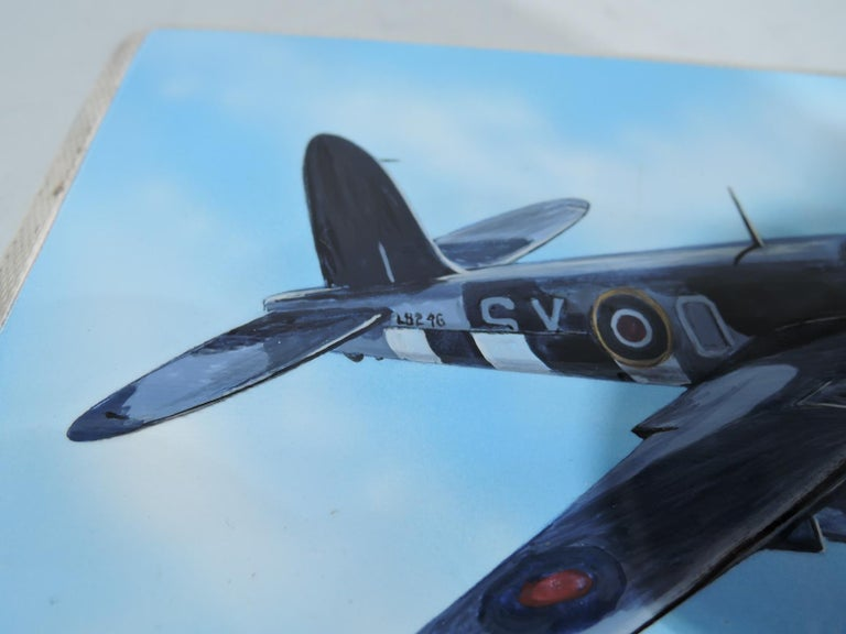 English World War II-Era Sterling Silver and Enamel Case with Fighter Plane For Sale