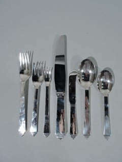 George Jensen Pyramid Sterling Silver Set with 99 Pieces