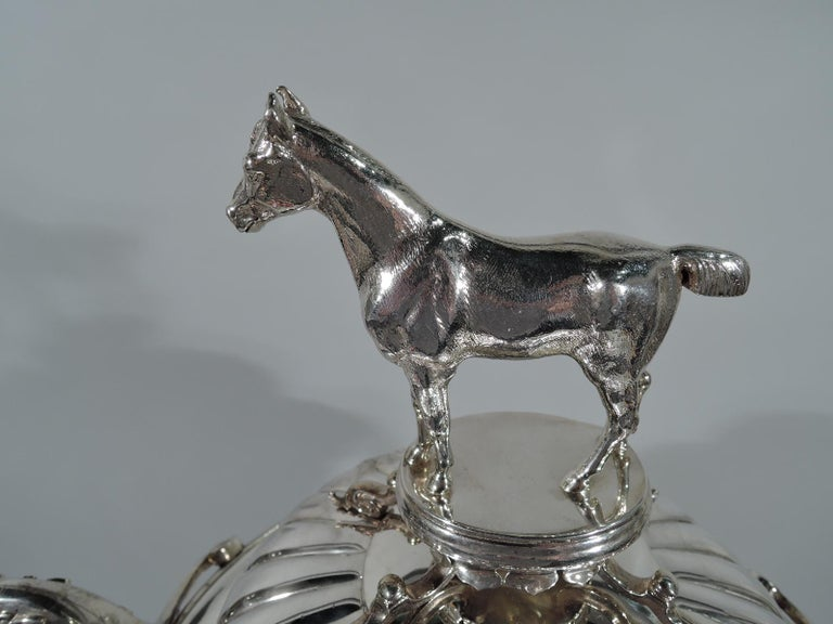 Large Antique English Sterling Silver Fox Hunting Trophy with Horse Finial In Good Condition For Sale In New York, NY