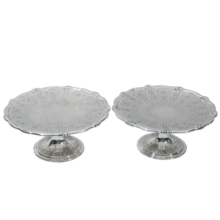 Pair of Antique Tiffany Edwardian Sterling Silver Compotes with Scallop Shells