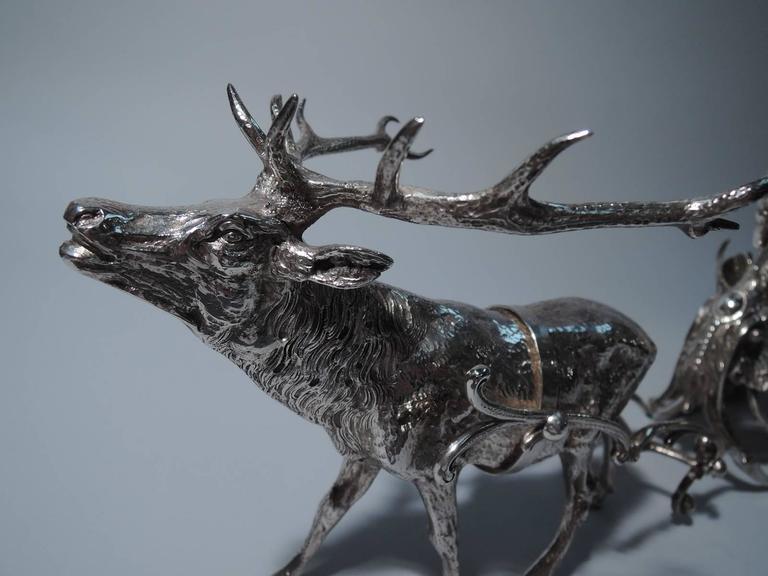 German Rococo Style Sterling Silver Reindeer Harnessed