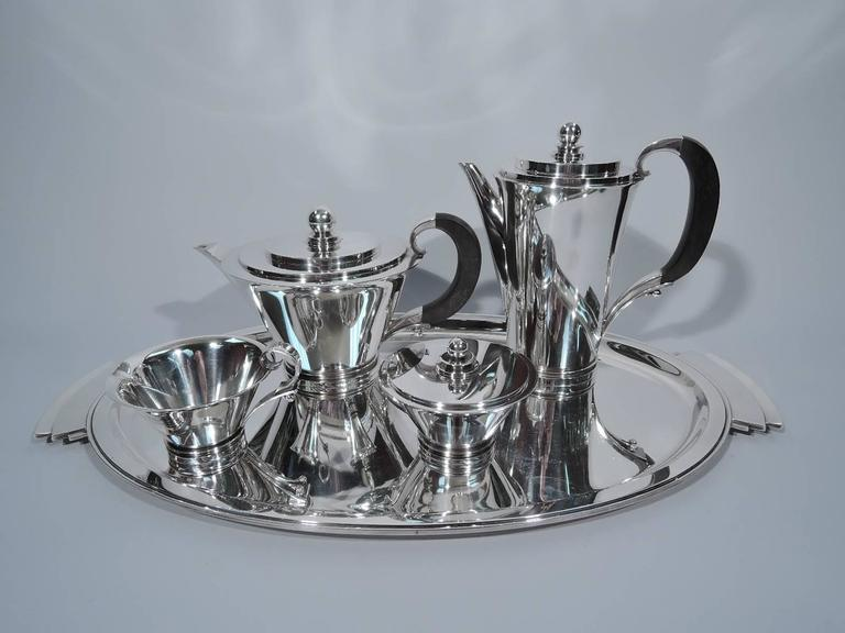 georg jensen pyramid sterling silver coffee and tea service for sale at 1stdibs. Black Bedroom Furniture Sets. Home Design Ideas