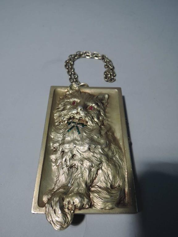 Antique Pretty Kitty Cat Silver Gilt Compact For Sale At