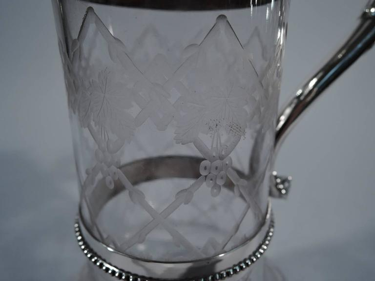 Sumptuous Victorian Sterling Silver and Crystal Wine Decanter For Sale 1