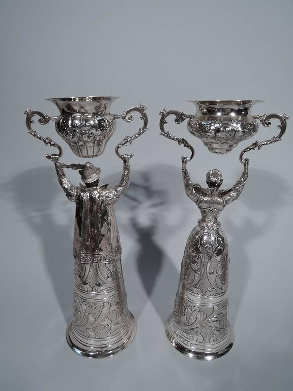 Pair Of German Sterling Silver Wedding Cups In Form Of