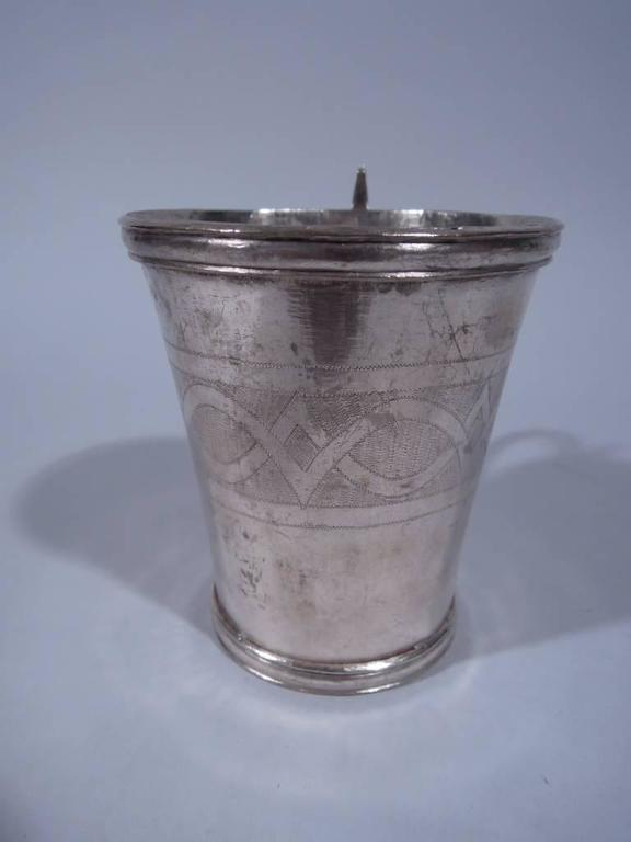 Antique South American Silver Mug With Snake Handle For