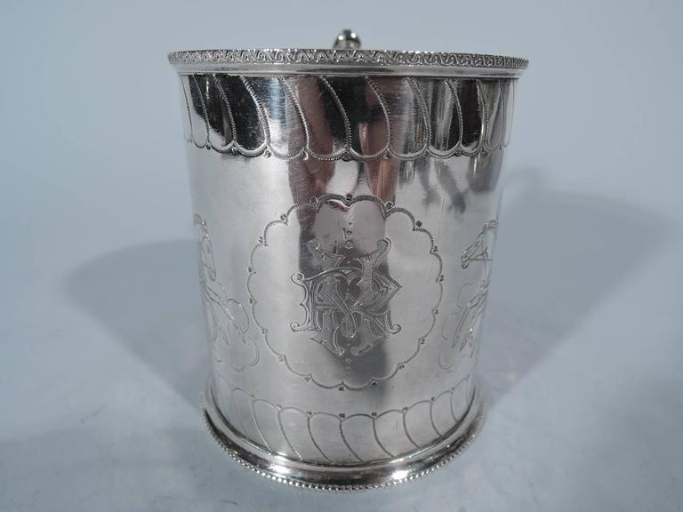Greek Revival Antique English Sterling Silver Baby Cup with Classical Charioteers For Sale