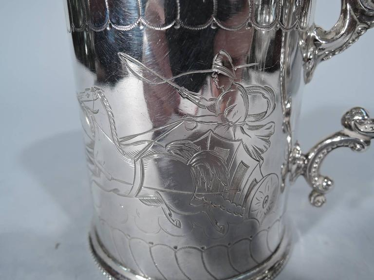 Antique English Sterling Silver Baby Cup with Classical Charioteers For Sale 1