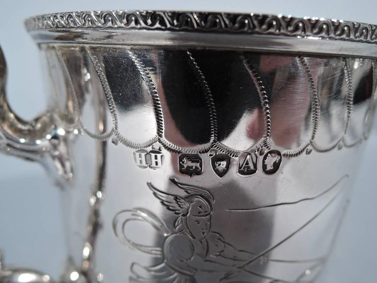 Antique English Sterling Silver Baby Cup with Classical Charioteers For Sale 3