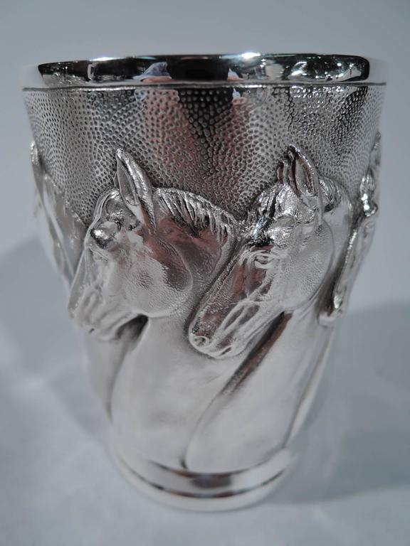 Set Of Eight Sterling Silver Mint Julep Cups With Horse
