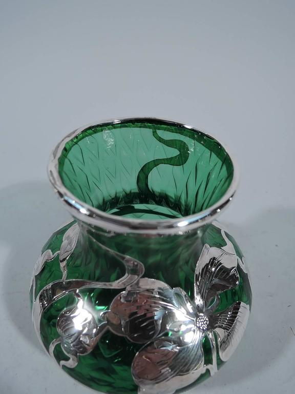 Art Nouveau Quilted Emerald Glass Silver Overlay Vase By