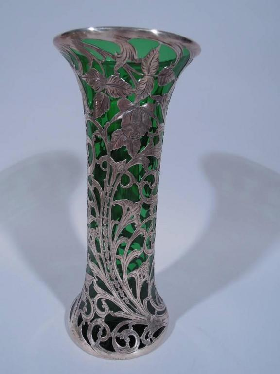 Alvin Art Nouveau Emerald Glass Vase With Floral Silver