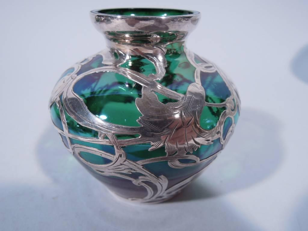 Art Nouveau Emerald Glass Bud Vase With Silver Overlay For