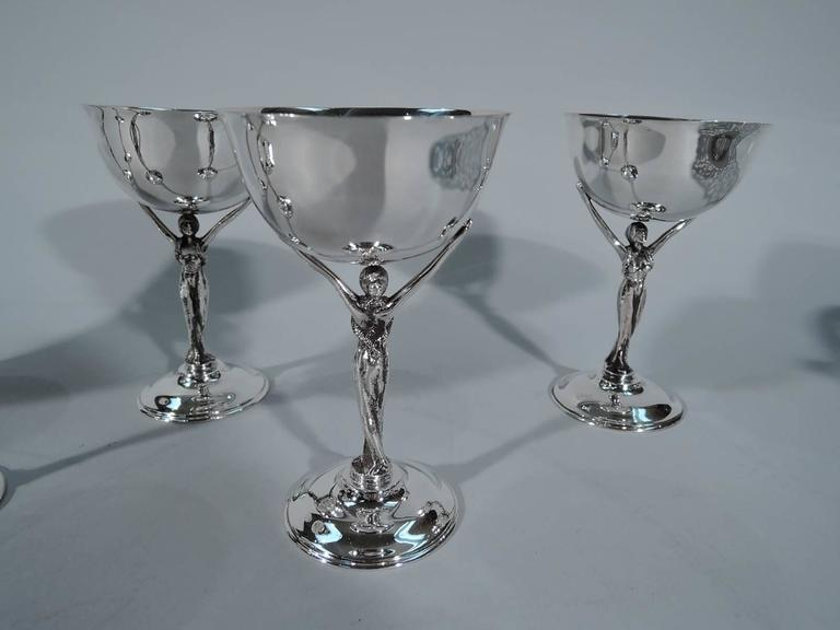 Set Of Six Jazz Age Silver Cocktail Cups With Glamour Girl