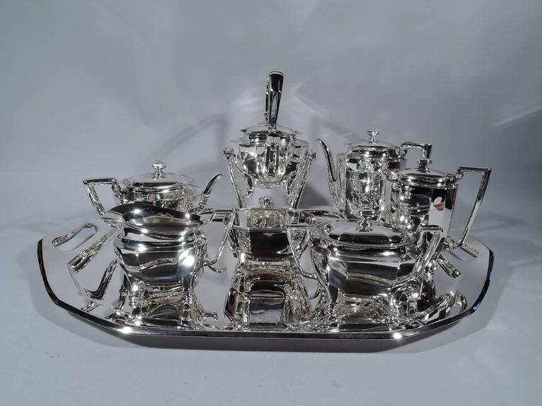 Art Deco Sterling Silver Coffee And Tea Set On Tray Made By Tiffany