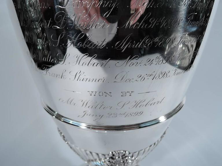 Antique Tiffany Tall Sterling Silver Horse Racing Trophy