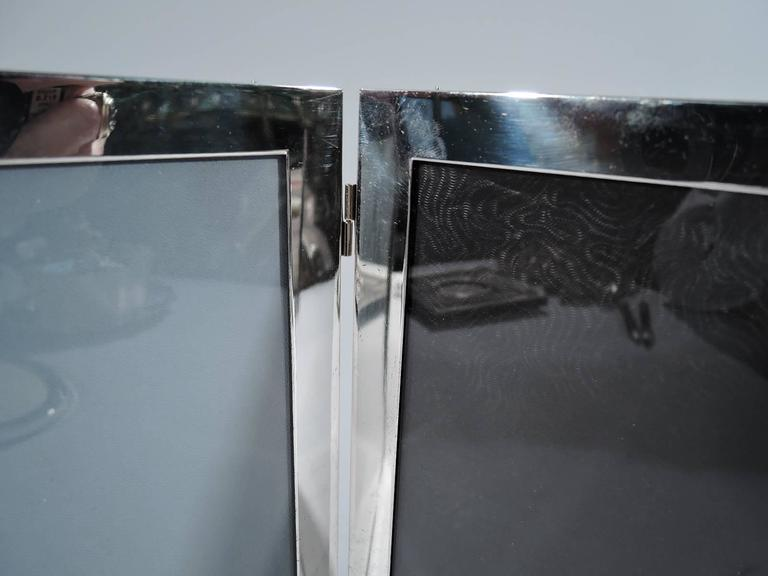 American Sterling Silver Double Diptych Picture Frame In Good Condition For Sale In New York, NY