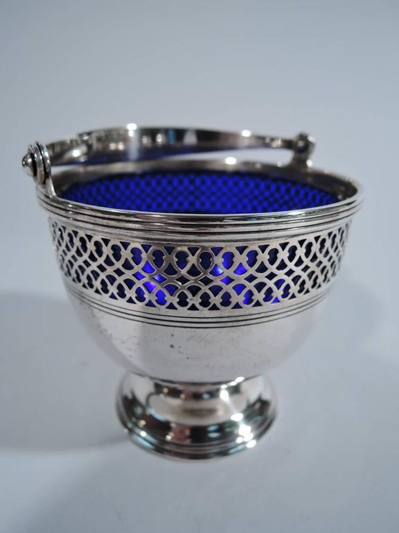 Tiffany Georgian Sterling Silver Sugar Basket With Cobalt