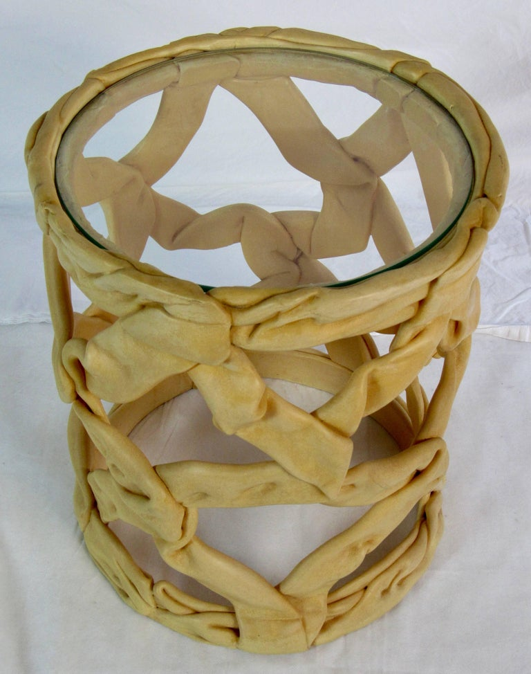 French Resin Ribbon End Table in the Style of Tony Duquette, 1980s For Sale