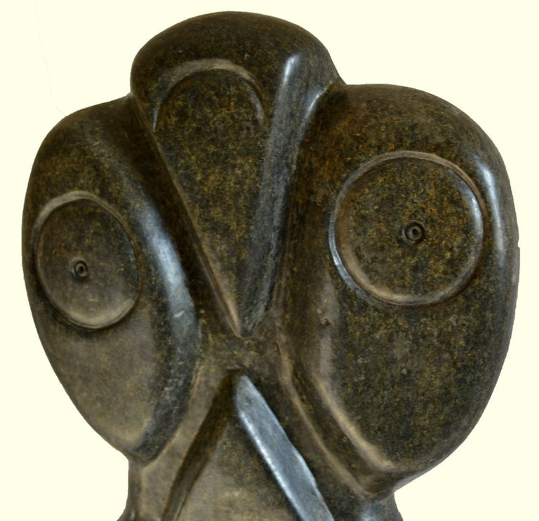 Bauden Khoreay's, carved Stone Sculpture of Owl, Malawi, Africa, circa 1970 In Excellent Condition For Sale In Camden, ME