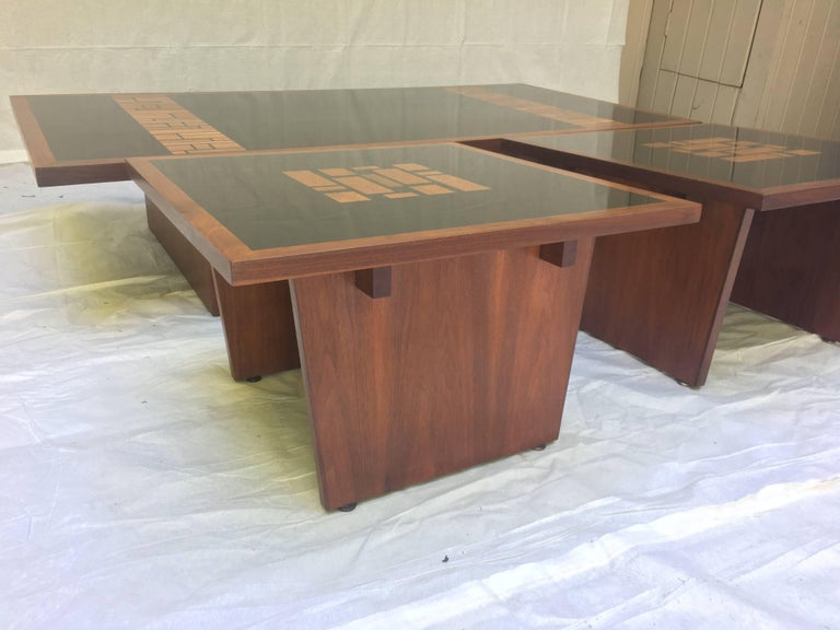Lacquered Set of Three, Frank Rohloff, 1960s, Walnut and Black Lacquer Mosaic Tables For Sale