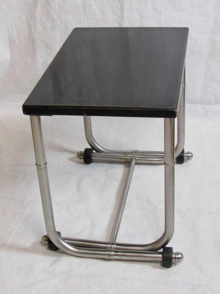 American Unique Side Table Warren McArthur Stainless Steel Frame, 1934-1935 For Sale