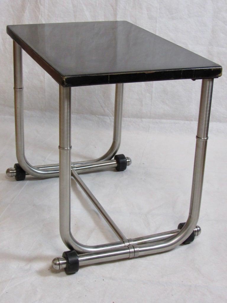 Metalwork Unique Side Table Warren McArthur Stainless Steel Frame, 1934-1935 For Sale
