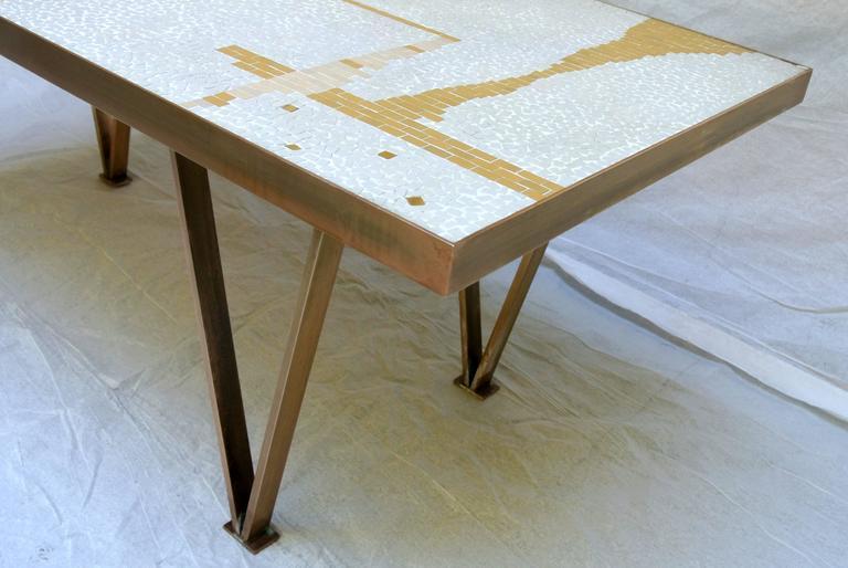 Ceramic Tile Coffee Table Mosaic Bronze Frame 1950's California Studio For Sale 1