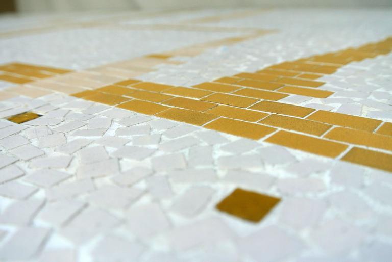 Ceramic Tile Coffee Table Mosaic Bronze Frame 1950's California Studio For Sale 3