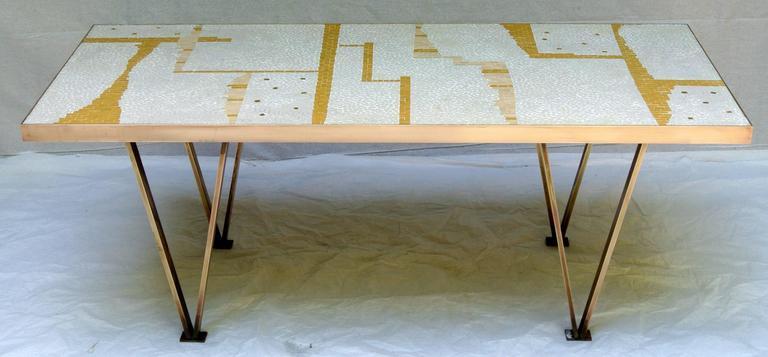 American Ceramic Tile Coffee Table Mosaic Bronze Frame 1950's California Studio For Sale