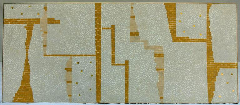 Mid-Century Modern Ceramic Tile Coffee Table Mosaic Bronze Frame 1950's California Studio For Sale