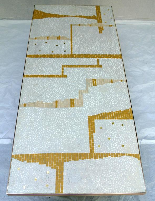 Ceramic Tile Coffee Table Mosaic Bronze Frame 1950's California Studio In Excellent Condition For Sale In Camden, ME