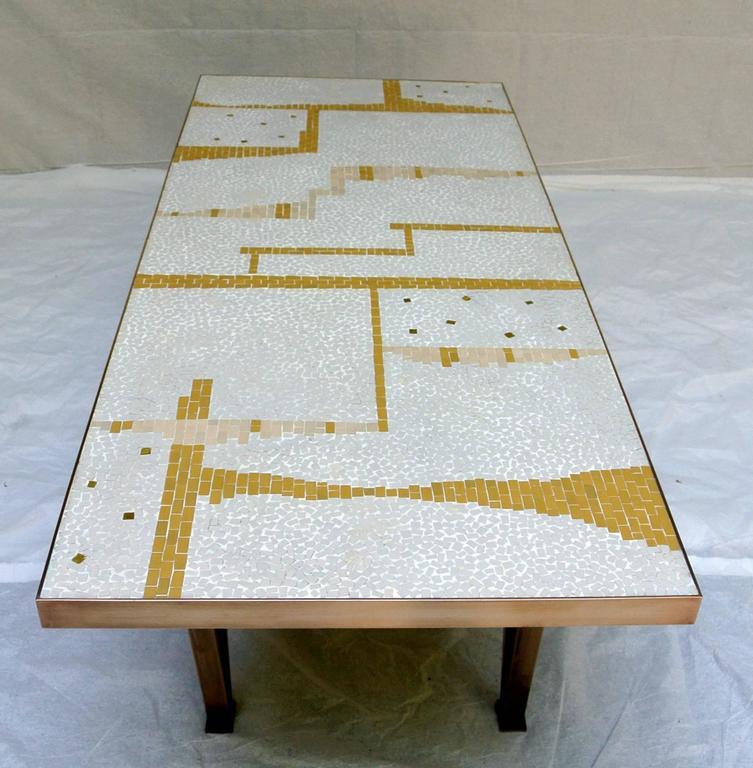 20th Century Ceramic Tile Coffee Table Mosaic Bronze Frame 1950's California Studio For Sale
