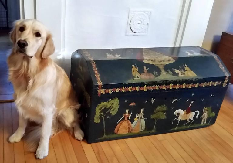 Salvador Corona Painted Blanket Chest, Mexico, circa 1940 For Sale 7