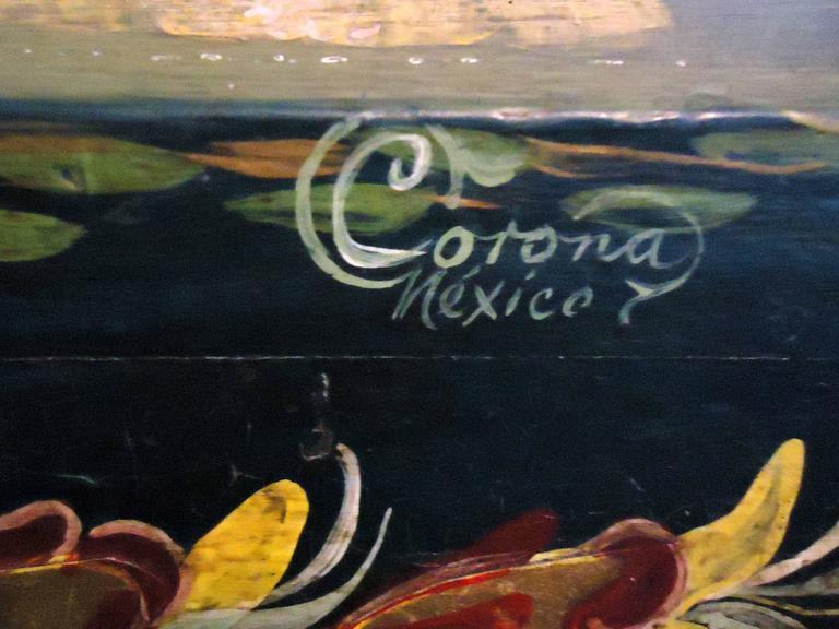 Folk Art Salvador Corona Painted Blanket Chest, Mexico, circa 1940 For Sale