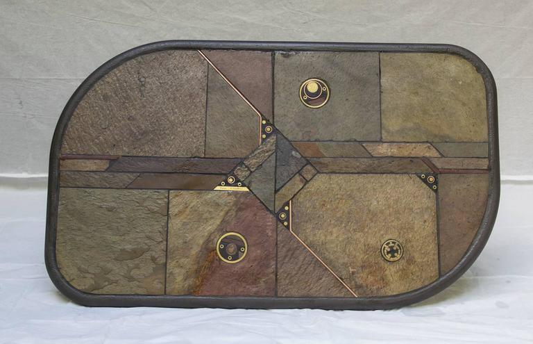 Mid-Century Modern Slate & Bronze Coffee Table signed V. Ramburrem, circa 1985 For Sale