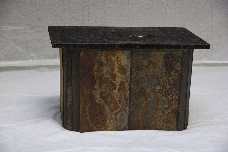 Slate & Bronze Coffee Table signed V. Ramburrem, circa 1985 In Excellent Condition For Sale In Camden, ME