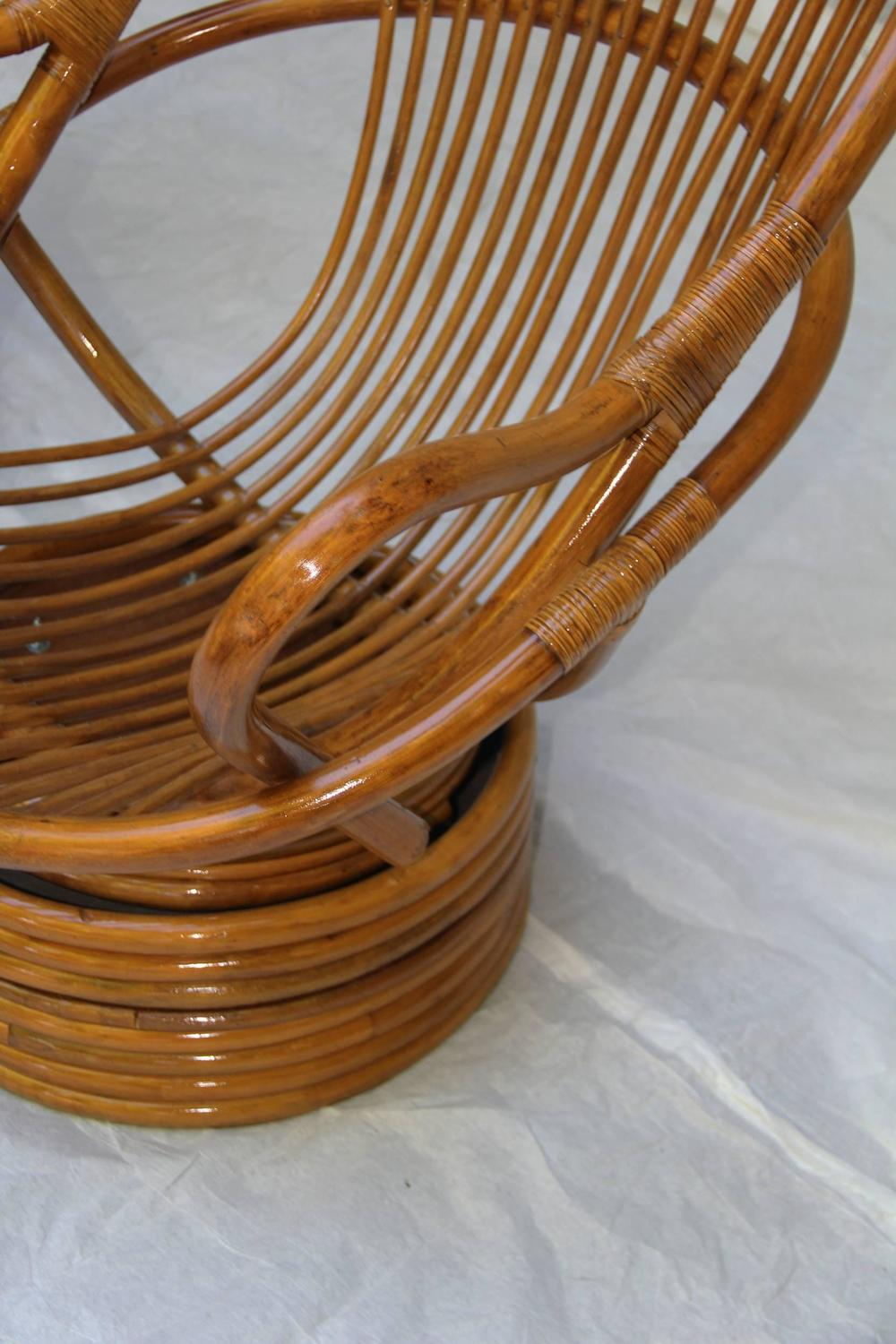 Pair Of Swivel Bamboo Rattan Lounge Chairs Sun Products