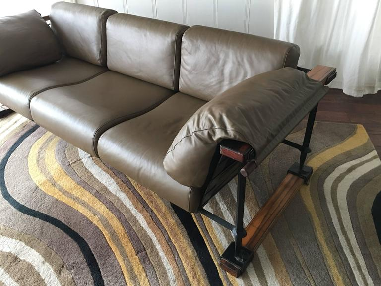 American Cleo Baldon Handcrafted 8' Leather Sofa for Terra, circa 1965 For Sale