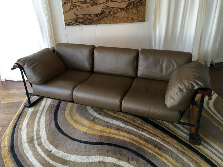 Hand-Crafted Cleo Baldon Handcrafted 8' Leather Sofa for Terra, circa 1965 For Sale