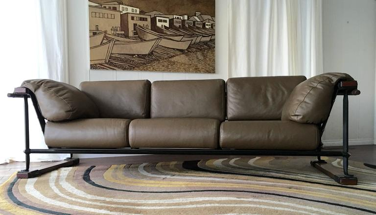 Cleo Baldon Handcrafted 8' Leather Sofa for Terra, circa 1965 For Sale 1