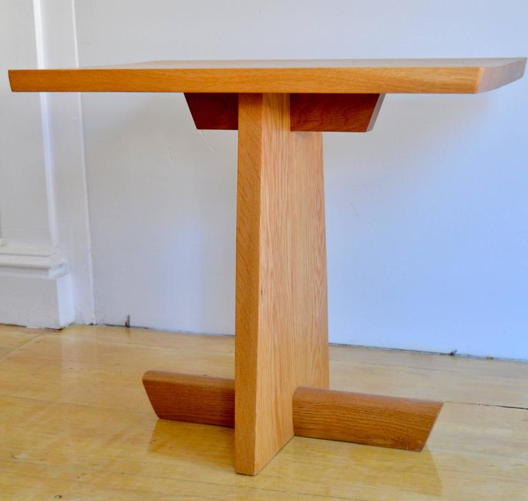 Mira Nakashima White Oak Minguren End Table Signed 1996 In Good Condition For Sale In Camden, ME