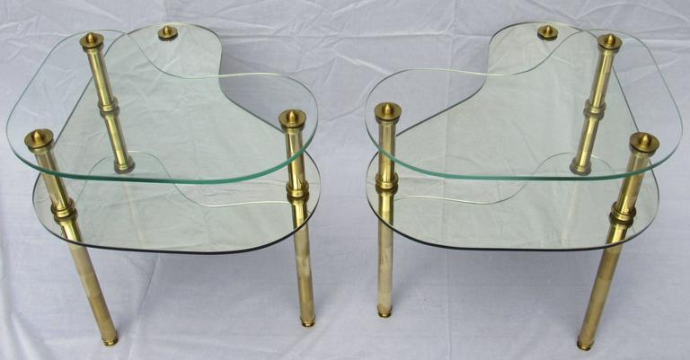 American Pair of Chased Brass and Mirrored Glass End Tables from Semon Bache, 1959 For Sale