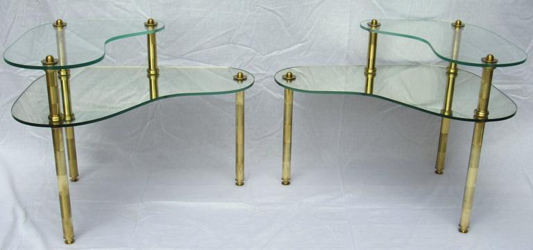 Pair of Chased Brass and Mirrored Glass End Tables from Semon Bache, 1959 In Excellent Condition For Sale In Camden, ME