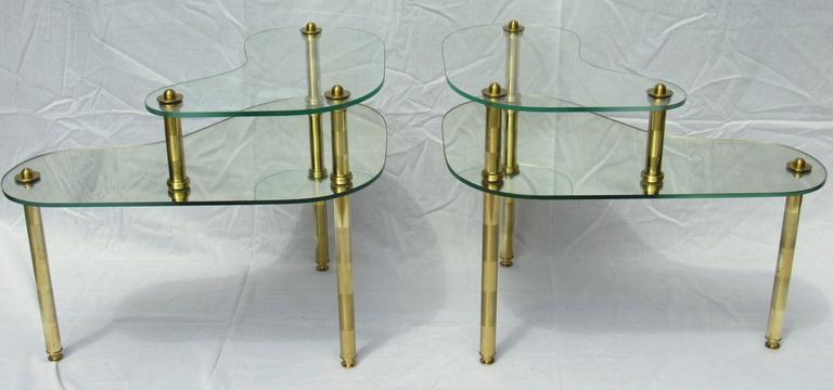 Pair of Chased Brass and Mirrored Glass End Tables from Semon Bache, 1959 For Sale 1