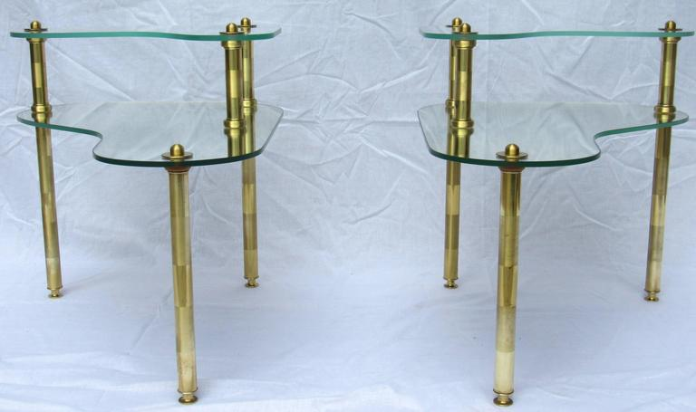 Pair of Chased Brass and Mirrored Glass End Tables from Semon Bache, 1959 For Sale 3