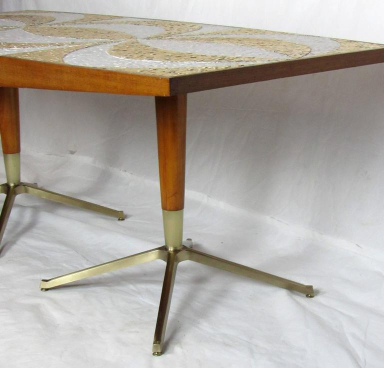 mosaic dining table writing desk with mahogany and bronze