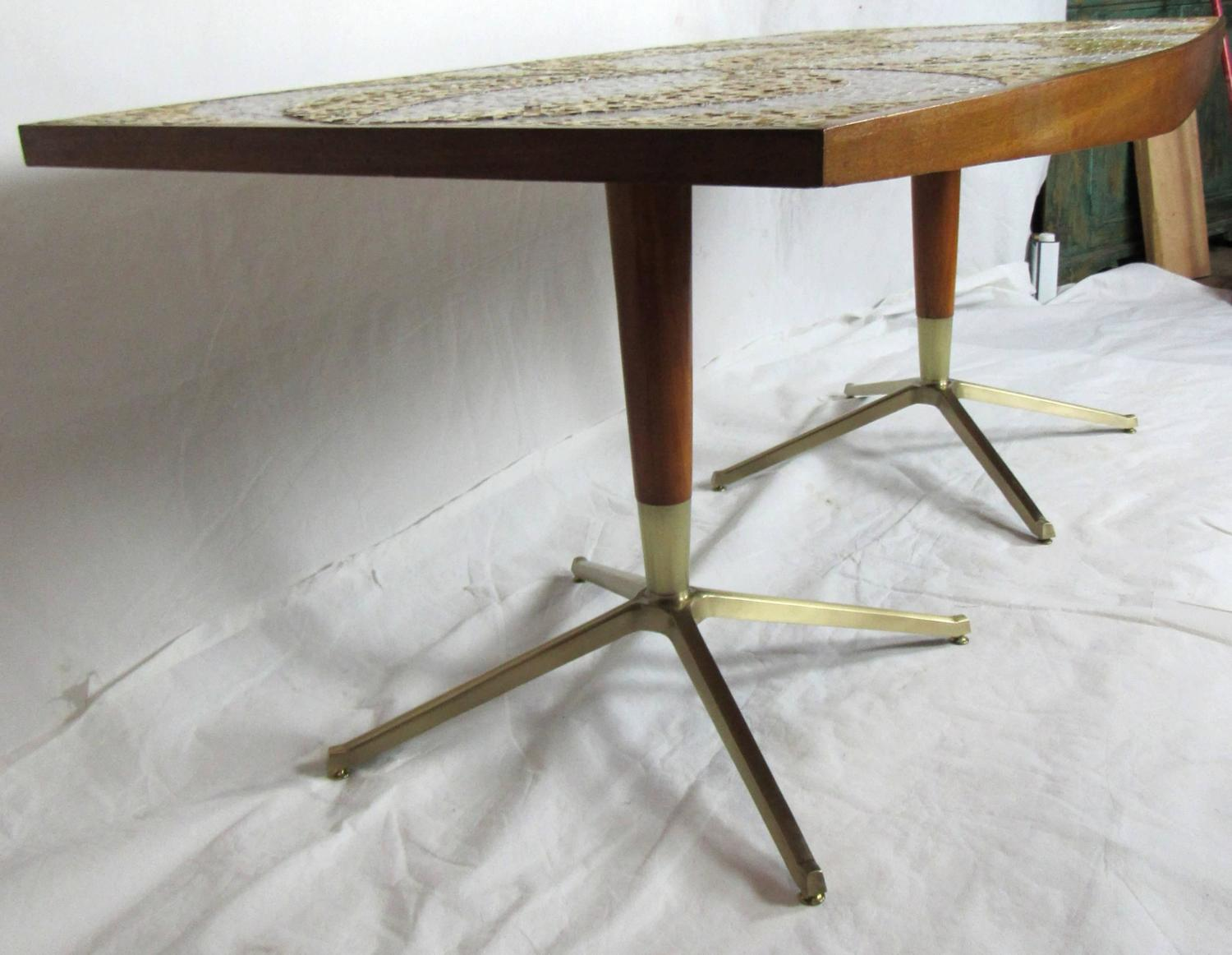 mosaic dining table with mahogany and bronze bases circa 1958 for