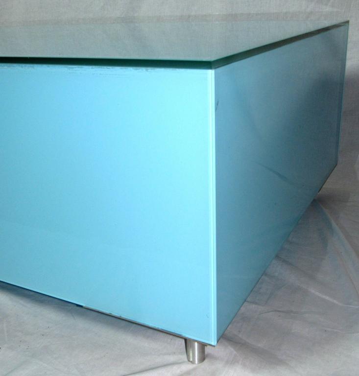 20th Century Rare Minimal Reverse Painted Robin's Egg Blue Italian Coffee Table, circa 1970 For Sale