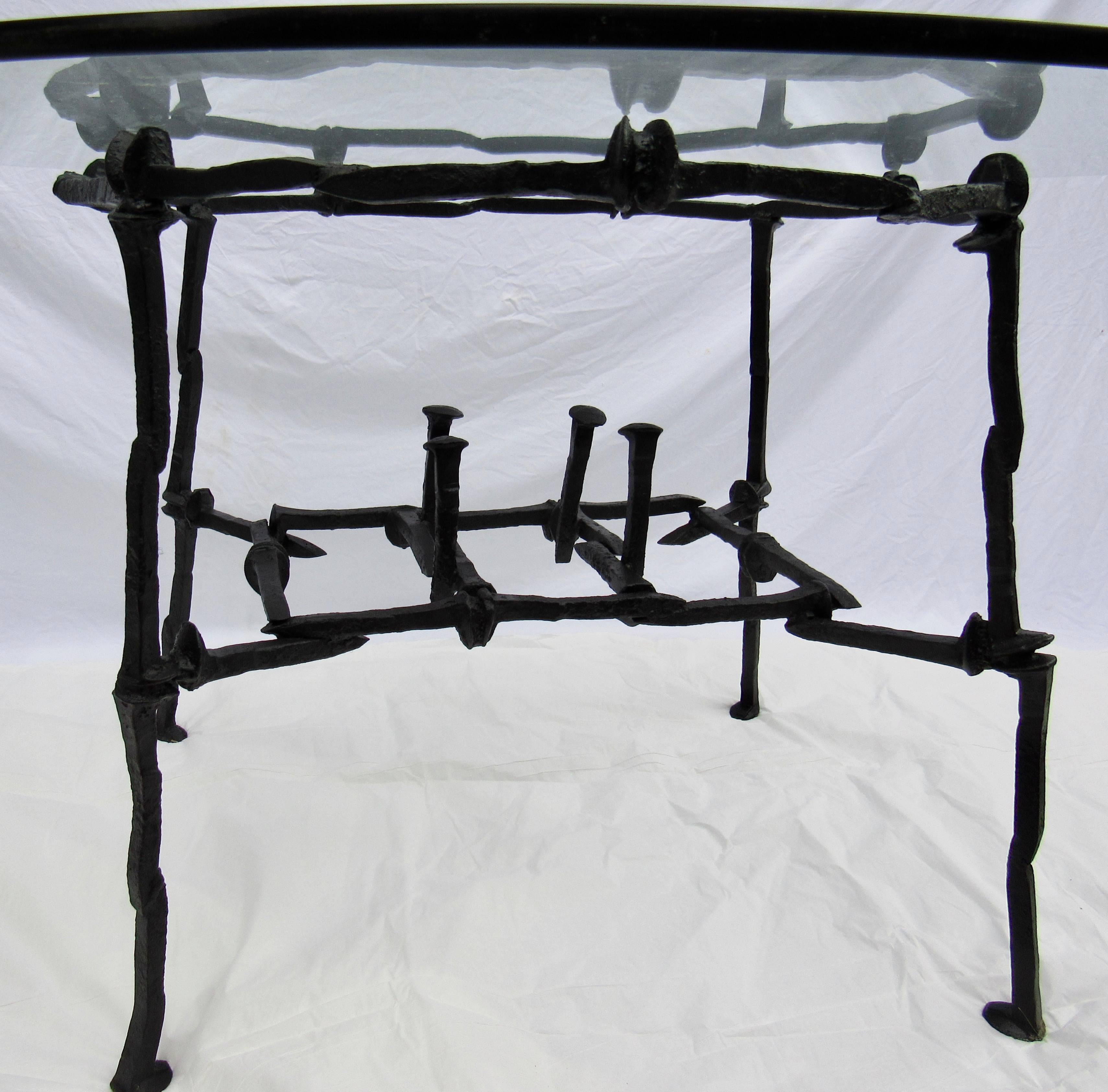Handcrafted Welded Railroad Spike Breakfast / Game Table, Circa 1970 In  Excellent Condition For Sale